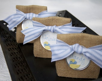 JULY Shipping! Sets of 4 to 22 All-in-One Party Favor Bags, Place Cards, Seating Chart  With or WithOUT Ribbon