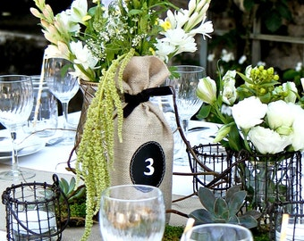 Wine Bottle Bags - Sets of 4 - 7 Burlap Wine Bottle Bags with Chalkboard Labels, Recommended by FOOD & WINE magazine