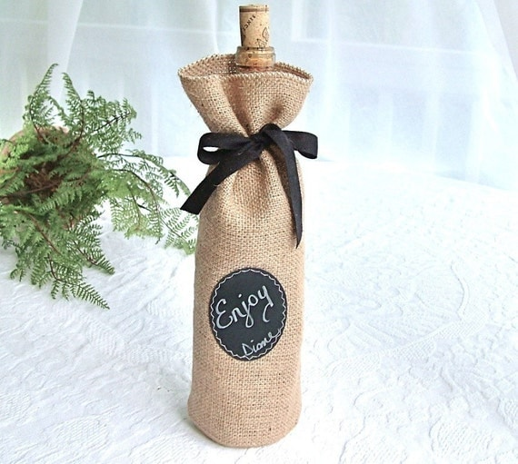 Burlap wine bottle bag with re useable chalkboard labels