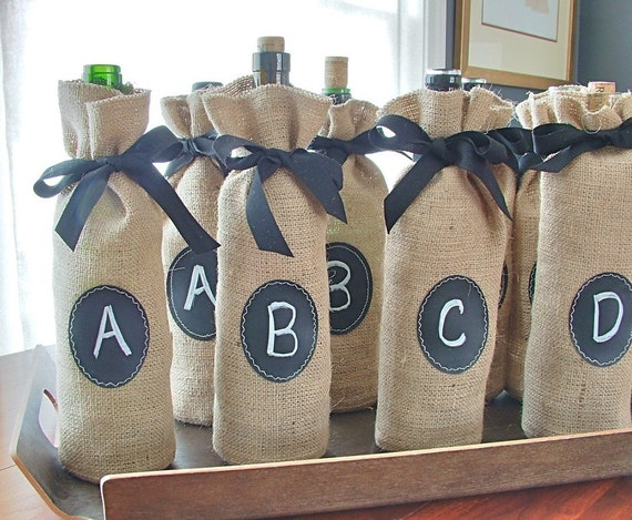 Jute Bottle Bags to Custom Label over and over again - Set of 8