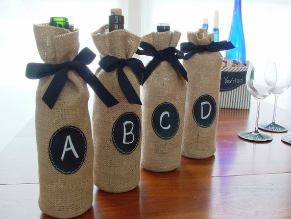 Set of 4 Burlap Wine Bottle Bags with Re-Useable Chalkboard Label, FOOD & WINE Magazine Favorite