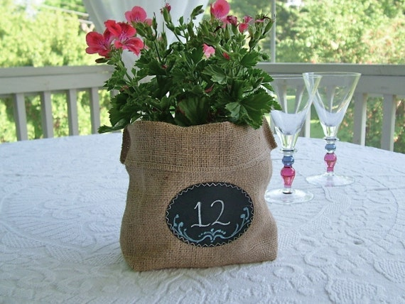 JULY Shipping! Set of 24 or more Burlap Bags with Re-Useable Chalkboard Labels for Gift Bags, Table Numbers, Centerpieces, and More