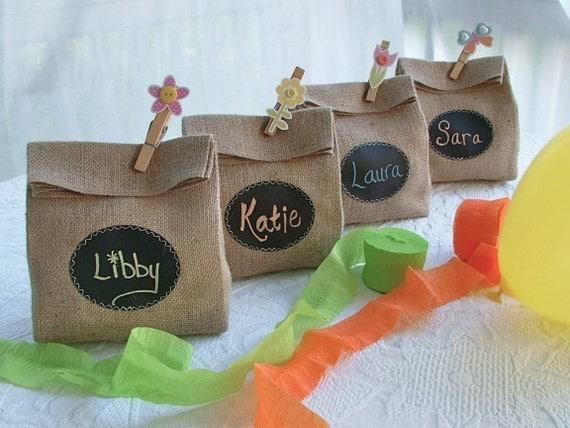 Set of 10 Burlap Gift Bags for Rachelle's wedding