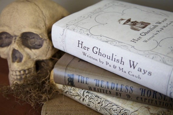 Creepy, Macabre Book Covers for Halloween Decorating, Set of 3 Dust Jackets