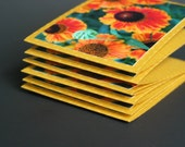 Orange Floral Mini Cards, Set of 6, REDUCED PRICE