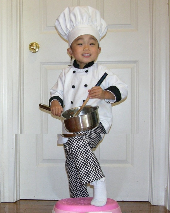 Chef hat, coat, and pants costume, toddler chef costume, toddler chef outfit