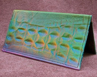 Handmade Checkbook Holder, Genuine Leather, embossed Alligator Emu Ostrich Airbrushed Art Painting Rainbow Multicolored Green Blue Red