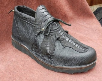 Handmade Exotic Leather Shoes - Black Buffalo Hide, Emu Leg & Shark Skin Custom Made or Size 5, 6, 7, 8, 9, 10