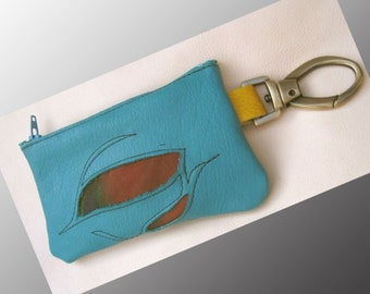 Handmade Leather Cell Phone Bag,Zipper Wallet/Clip On Coin Purse,Tote. Goat Skin & Turquoise Blue Airbrushed Raggedy Cow Hide w/ Swivel Snap