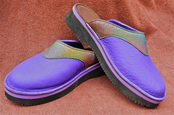 Handmade Leather Clogs - Cowhide Purple Violet Bull Hide with Colorful Rainbow Trim Embossed Star, Custom Made or Size 5, 6, 7, 8, 9, 10