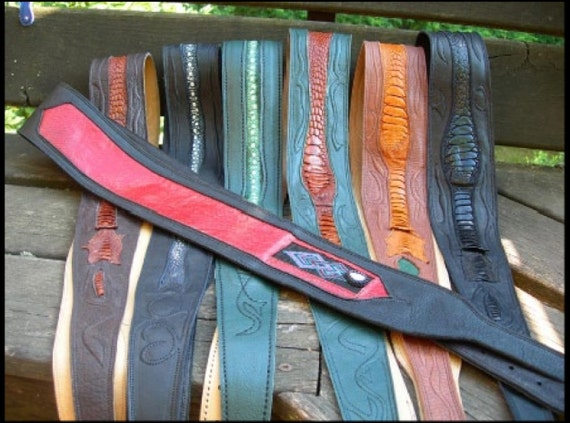 Handmade Guitar Strap,Leather, Custom Made,52 Inch Adjustable,Tan Black Red Green Blue Cowhide Ostrich / Emu and Stingray Skin - Monogrammed