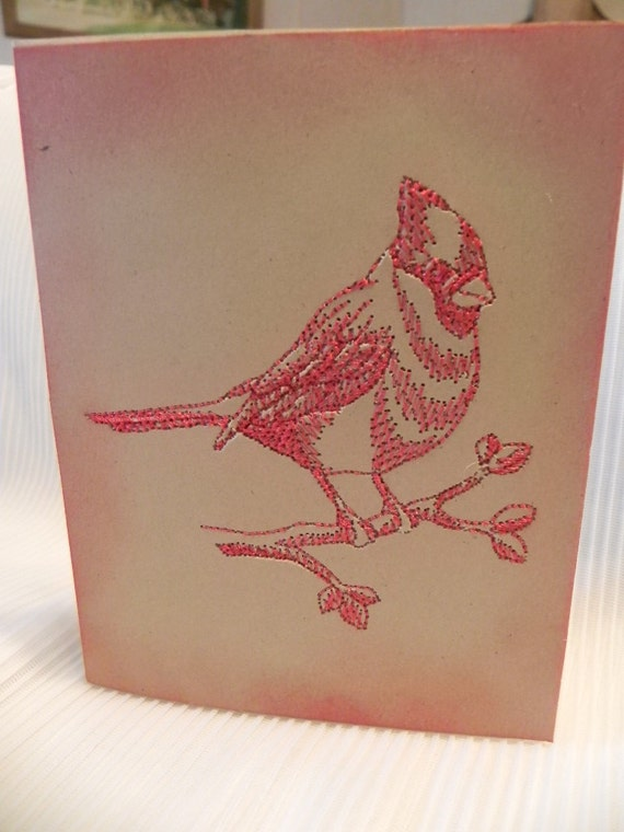 Embroidered Card Cardinal Brown Kraft Cardstock Distressed