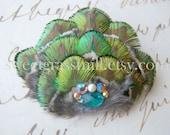 Peacock Hair Piece - VERDE - Golden Green Peacock Feather Fascinator Clip