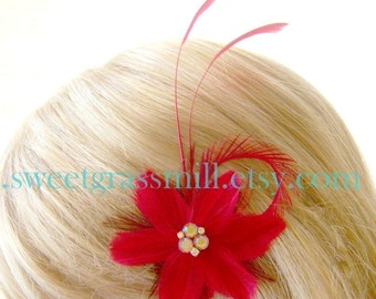 Feather Fascinator - ROUGINA FLORIA - Red Feather Flower Jewel Clip - Bridesmaid