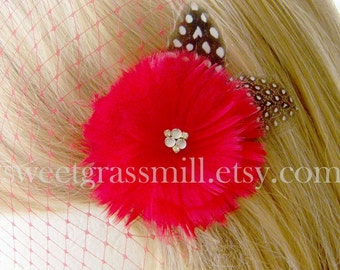 ROUGEBERRY Clip and Mini Red Veil - Feather Flower with Gems