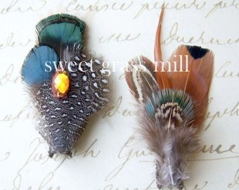 Feather Fascinators - PEMBERLEY Clips - Lady Amherst and Brown Pheasant Feathers
