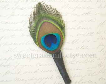 Peacock Feather Boutonniere - BASIQUE Boutonniere - Peacock Feather Black Satin