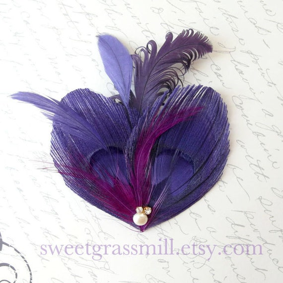 VIOLETTE FLAIR - Purple Peacock Feather Clip or Headband