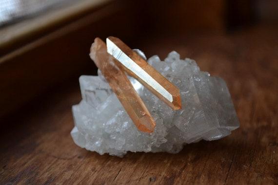 Tangerine Aura Raw Crystal Point Earring Studs