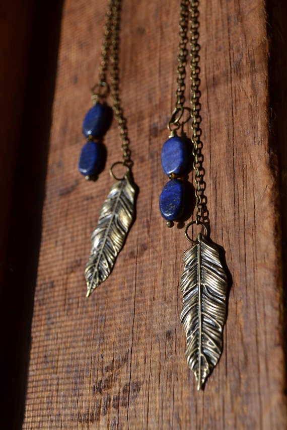 Brass Feather Deep Blue Lapis Lazuli Earrings
