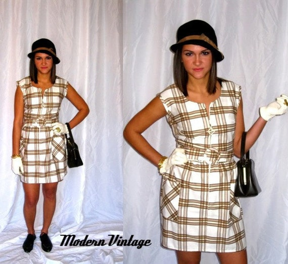 Plaid Mini Dress Mad Men 70s Mod Vintage Summer Sleeveless Shift Dress - Small