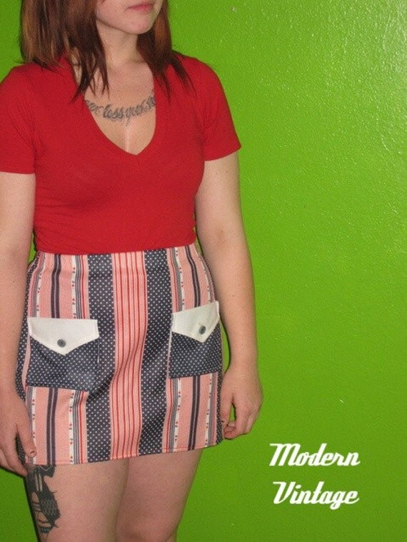 July 4th Mini Skirt USA Clothing American Red White Blue 70s Vintage - Small