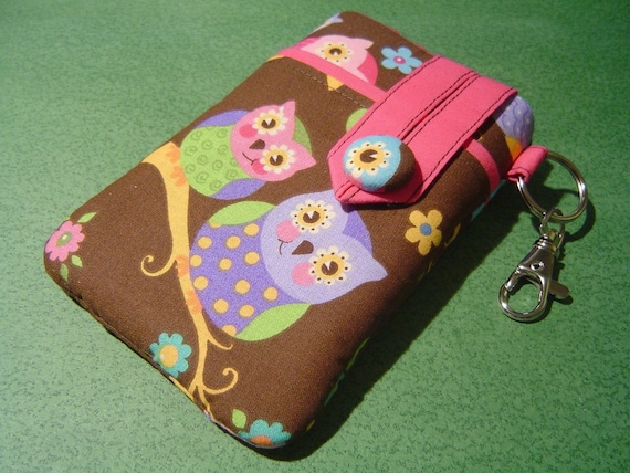 iPhone 3G, iPod-Touch, BlackBerry, MP3, Sleeve - PADDED -- Small Camera Case -- Owls on Branches,