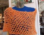 honeycomb tube poncho, creamcicle orange