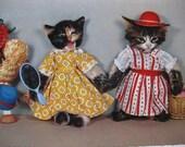 We are dressed to impress - strange vintage cat postcard