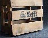 Old wooden Belgian Leffe beer crate