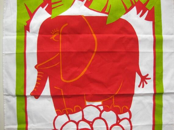 Cute vintage red elephant linen tea towel