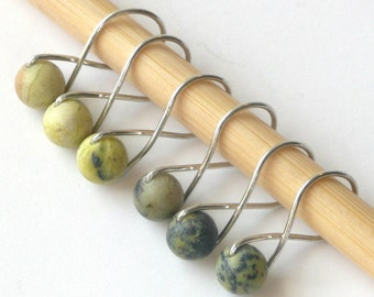 Yellow Turquoise Infinity Ring, Snag Free Stitch Markers, Knitting Stitch Marker