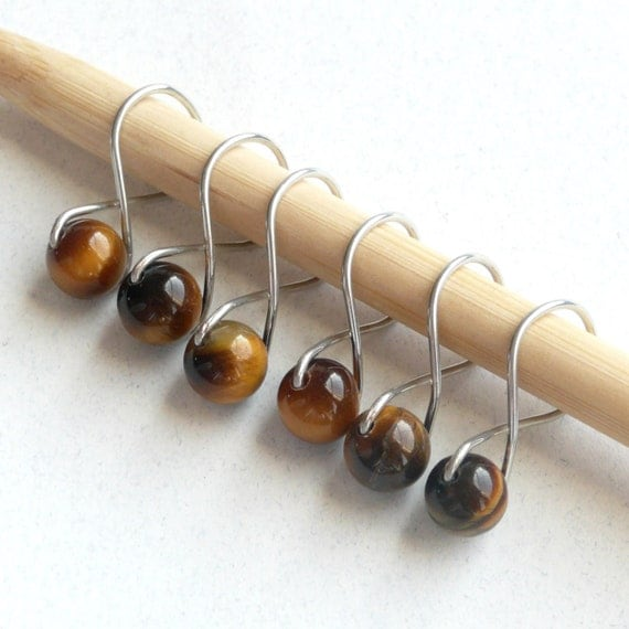 Tigers Eye Infinity Ring Stitch Markers