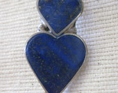 Double Heart Lapis Lazuli Blue and Silver Earrings