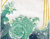 Once Upon a Wave, limited edition color linocut, printed and signed in pencil by the artist