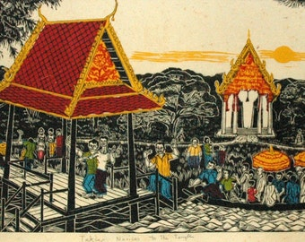 Taking Novices to the Temple Limited edition linoleum block print, hand printed by artist and signed in pencil