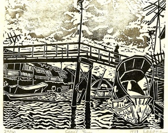Canal Town, limited edition lino cut, hand printed, hand signed in pencil by the artist