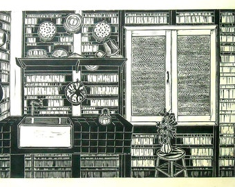 A Workable Kitchen,  Black and white linoleum print. Signed in pencil by the artist