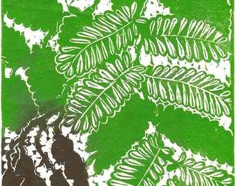 Tamarind, limited edition, color linoleum block print, printed and signed in pencil by the artist