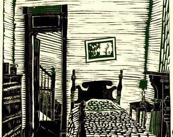 Bedroom,  limited edition linoleum block print, printed and signed in pencil by artist