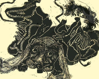 Puppy, limited edition linocut, printed and signed in pencil by the artist