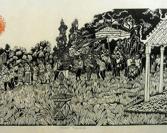 Novices Procession, limited edtion, hand printed, hand signed in pencil by the artist, Framed linocut