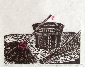 Thai Basket, Broom and Whisk, limited edition, linoleum block print, printed and signed in pencil by the artist