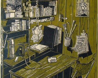 Desk,  Black white and color linoleum print. Signed in pencil by the artist