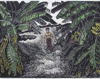 Paitoon Among the Bananas, hand printed, hand signed in pencil by the artist, Black and White linocut
