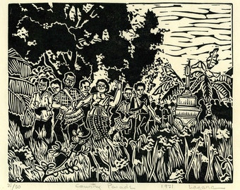 Country Parade,  Limited edition linoleum block print, hand printed by artist and signed in pencil