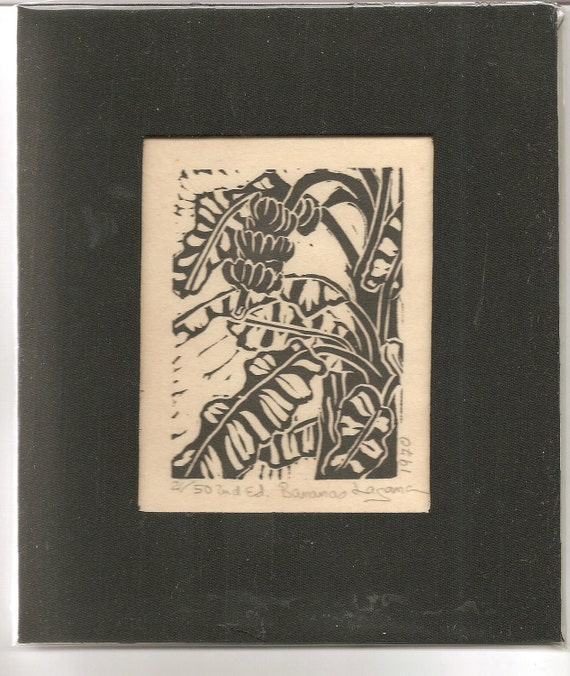 Bananas, limited edition linoleum block print, printed and signed in pencil by the artist