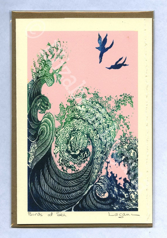 """3 Lagana Greeting cards, digitalized from Lagana's linoleum block prints, """"Birds at Sea,"""" plus 2 more of your choice"""