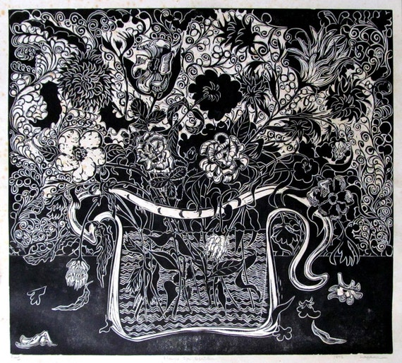 Flowers for Genevieve,  limited B&W lino block, cut, printed and signed in pencil by the artist