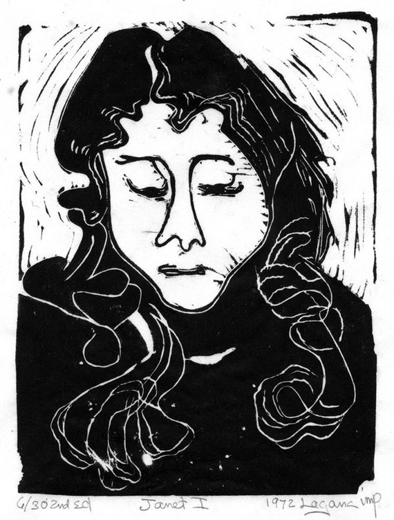 Janet I or Janet II,  your choice of two limited edition lino blocks,  cut, printed and signed in pencil by the artist